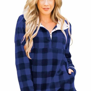 Royal Blue Plaid Fleece Pullover Sweatshirt
