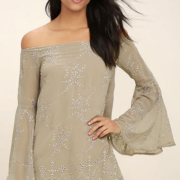 Sway My Way Light Taupe Embroidered Off-the-Shoulder Dress