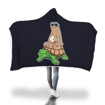 Sloth Riding Turtle Hooded Blanket Adult And Youth Sizes Black Color