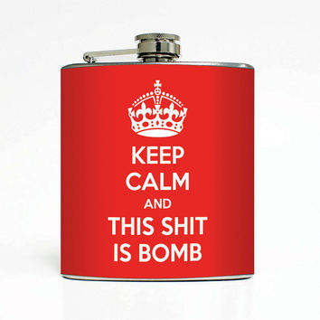 Keep Calm Designer 6 Oz Liquor Stainless Steel Hip Flask Weddings Groomsmen Bridesmaids Gift Whiskey Flask