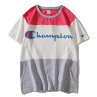 Champion summer new splice men and women letter print T-shirt top Red