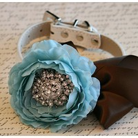 Tiffany Blue and Brown Floral Dog Collar, Pet Wedding