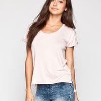 Life Clothing Co. Step Hem Womens Roll Cuff Tee Light Pink  In Sizes