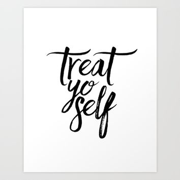 Wall Decor Watercolor Dorm Wall Art Parks and Recreation Print Treat Yo Self Print Funny Quote Print Art Print by typohouseart