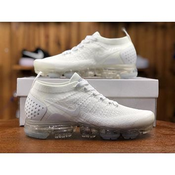 2018 Nike Air VaporMax Flyknit 2.0 Triple White 942842-100 Sport Running Shoes