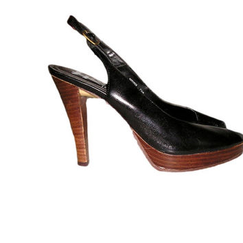 Vintage 70s CARLOS FALCHI Black Leather Peeptoe Platform Slingback Shoes High Heels 7.5