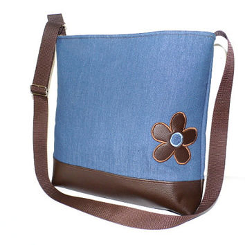 Denim faux leather tote, cross body bag with adjustable strap