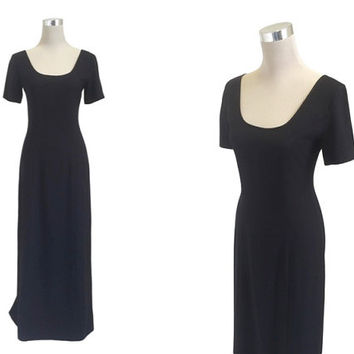 Vintage Laura Ashley Dress - 1980's Dress - Long Black Dress - Classic LBD Maxi
