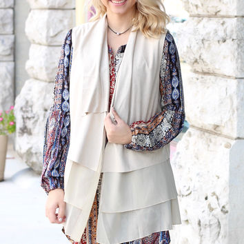 Layer On the Suede + Chiffon Vest {L. Taupe}