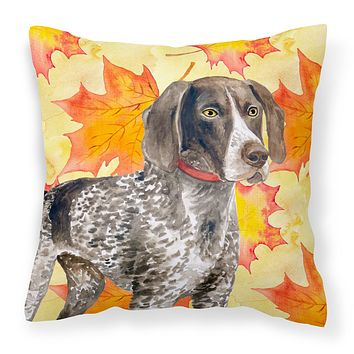 German Shorthaired Pointer Fall Fabric Decorative Pillow BB9902PW1414