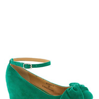 ModCloth Such a Doll Wedge in Green