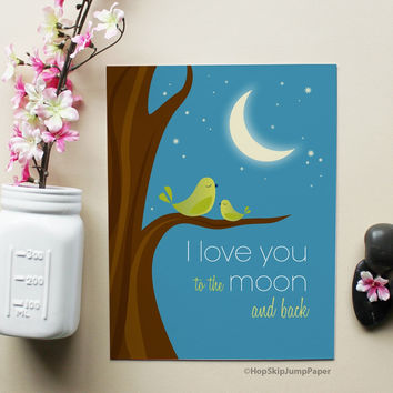 I Love You to the Moon and Back with Green Birds Art Print art print