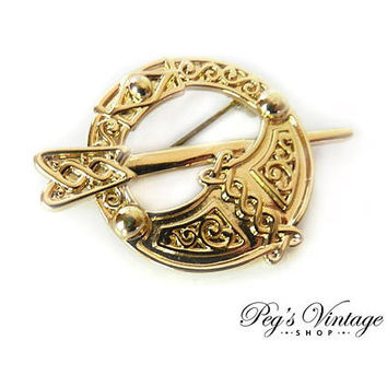 Vintage Sol D'Or Gold Tone Brooch Pin / Celtic Brooch / Vintage SOLDOR Jewelry