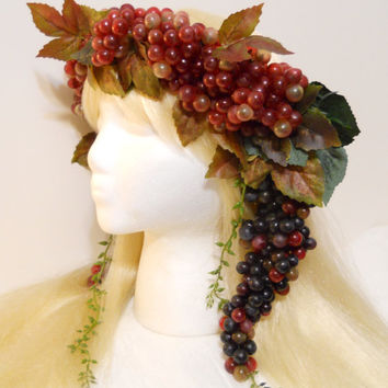 Grape Crown Bacchus Crown Greek Roman Maenad Laurel Grape Vine Wreath God Goddess Wine Dionysus Grecian Athena Burning Man Costume Headdress