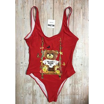 MOSCHINO One Piece Swimwear Bikini Set MOS07 Red