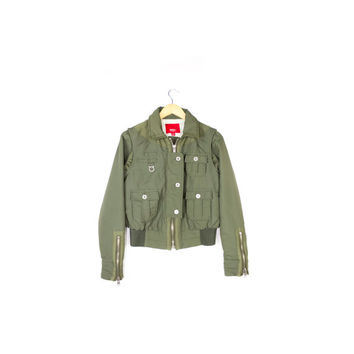 green military bomber jacket / aviator / flight / nylon / zippers / army / tactical / outdoors / biker / motorcycle / small -medium