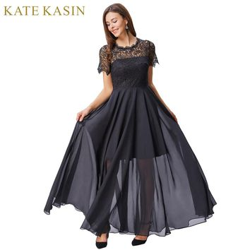 Short Sleeve Evening Dresses Long Lace Formal Dresses  Floor Length Black Evening Gown