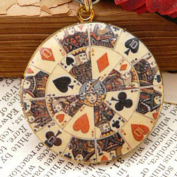 Vintage Playing Cards Art Locket Pendant by QuaintandCurious