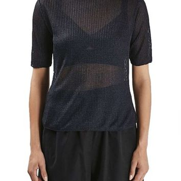 Topshop Boutique Funnel Neck Sheer Ribbed Tee | Nordstrom