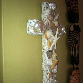 Beautiful Cottage Home Beach Shell Seashell Sea Glass Shimmery Cross Crucifix Wall Hanging Tans Browns Starfish
