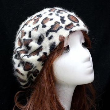 and Winter Fashion Women Hat Sexy Leopard Print Berets Cap for Ladies Rabbit fur Warm Cap Female 12 Color