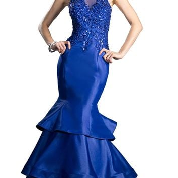 Cinderella Divine - Beaded Halter Tiered Mermaid Prom Dress With Train