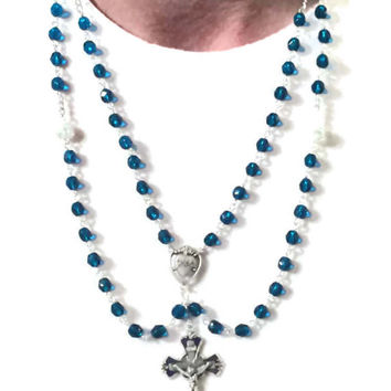 Catholic Chic Blue Lazulite and Enameled Crucifix // Rosary Inspired Necklace // Multi strand Necklace // Something Blue Bride Sacred Heart