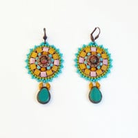 Bead Embroidery earrings.Unique handmade jewelry. OOAK.colorful earrings, autumn jewelry, unique earrings.