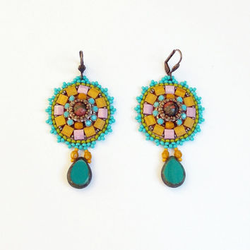 Bead Embroidery Earrings Unique Handmade Jewelry Ooak Colorful Autumn