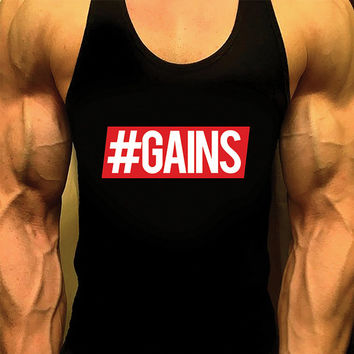 Gains. Mens Workout Tank Top. Fitness Tank. Racerback Tank. Muscle Tank. Mens Fitness. Gym Tank Top, Workout Shirt. Fitness Apparel