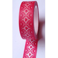Hot Pink lace Paper Deco Washi Masking Tape Roll Adhesive Stickers WT39