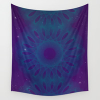 Blue Spiro Wall Tapestry by DuckyB (Brandi)