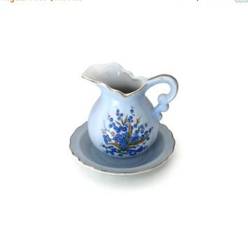 CLEARANCE Lefton China Miniature, Blue Pitcher and Bowl, Ceramic Miniature Pitcher and Basin Set, Made in Japan, Bathroom Decor, Ladies Vani