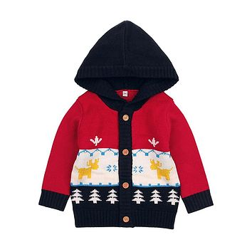 2018 Winter Baby Coat Knitted Hooded Cute Infant Jackets Autumn Children Warm Outerwear Kids Clothes Boys Girls Clothing Brand
