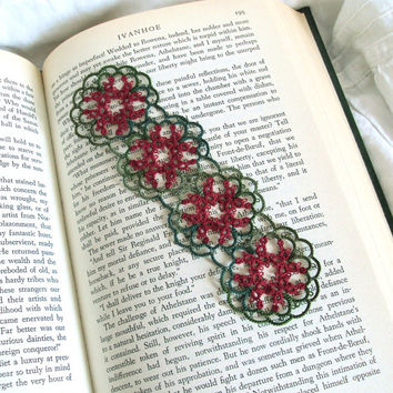 Tatted Lace Bookmark , Red Butterfly , Greens - Janessa Version 2