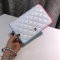 HCXX 19July 066 Faddish Embroidery Fashion Embossed Chain Single Shoulder Bag white blue pink