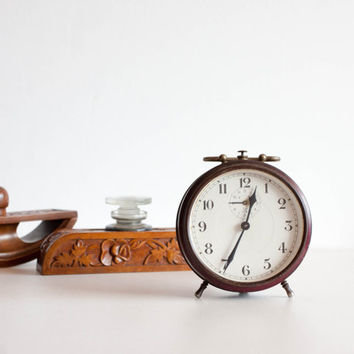 Vintage Alarm Clock, Dark Burgundy Red Clock, Rustic Desk Clock, Rustic Home Decor