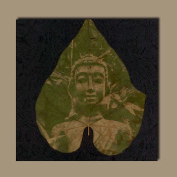 Zen Art Leaf Chlorophyll Print Canvas. Unique Wall Art Of Photo Developed on Plant Leaf. Nature Anthotype Process