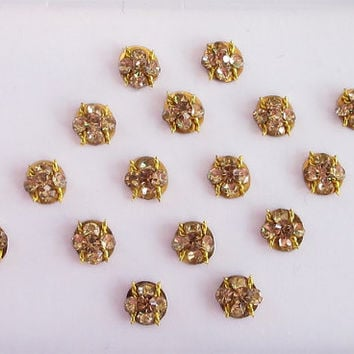 Antique Small Gold Stickers Bridal Face Bollywood Jewels stud with rhinestones/Indian Bindis/Bindi Sticker/Antique Round  Bindi Jewels