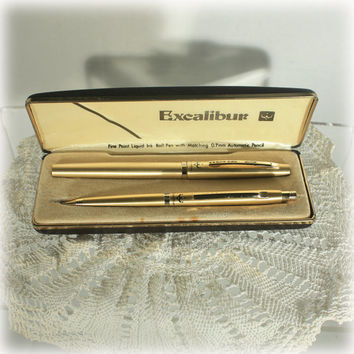 Vintage Excalibur Pen Mechanical Pencil Set in Brushed Gold Tone by Pentel Japan