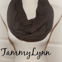 Dark Chocolate Brown Solid LONG Cotton Spandex Knit Fabric Blend Infinity Scarf Cowl Women's Accessories