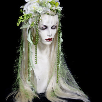 SALE: Green Fairy - Full WIG, Hair, Headpiece Costume, Faerie Renaissance, Wedding, Burning Man, head dress, Labyrinth Cosplay Woodland