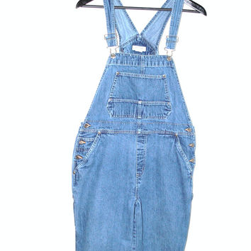 90s vintage denim overalls 1990s grunge relaxed fit stone washed jean dungarees mom jeans medium