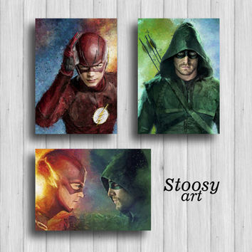 dc superhero print set of 3 the flash poster green arrow print justice league decor