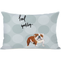 """Pup Words English Bulldog"" Indoor Throw Pillow by April Heather Art, 14""x20"""