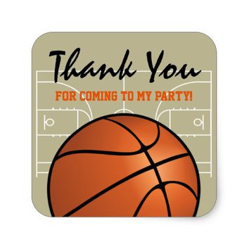 Kids Basketball Birthday Party Square Sticker