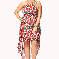 FOREVER 21 PLUS Watercolor Ikat High-Low Dress Cream/Red X-Large