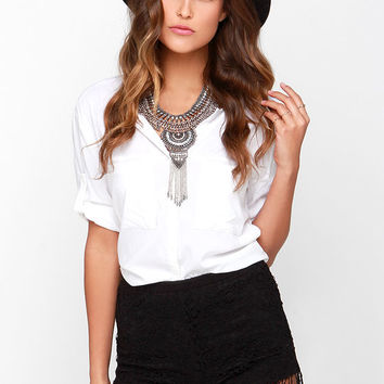 Let's Be Fringe Black Lace Shorts
