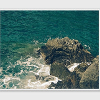 Mediterranean Coastline Photo. Manarola.Turquoise emerald water.Fine Art Photography.Cinque Terre.Italian Riviera sea.Rock cliffs.La Spezia.