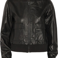 Current/Elliott + Charlotte Gainsbourg The Shrunken cropped leather bomber jacket – 70% at THE OUTNET.COM